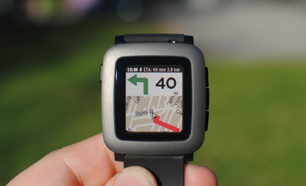 MapsGPS running on the Pebble Time